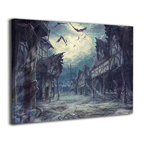 Paint C Street Wolken Nacht Mond Haus Halloween Horror dunkle Fledermäuse Wand Kunst Gemälde Landschaftsbild Leinwanddruck ohne Rahmen fertig zum Aufhängen für Heimdekorationen 40,6 x 30,5 cm