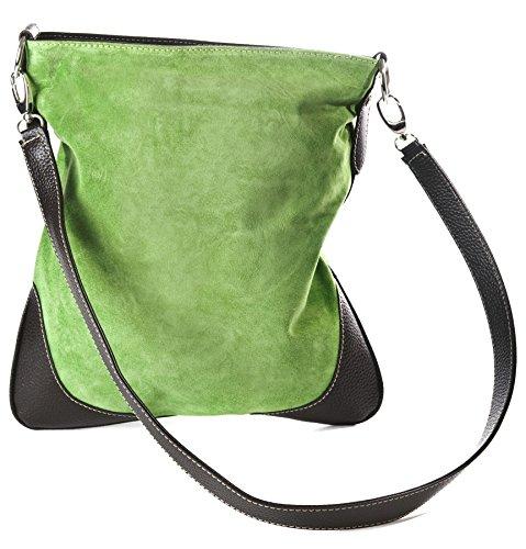 Big Handbag Shop - Borsa a tracolla da donna, stile messenger, in vera pelle scamosciata italiana, sintetica, con finte cuciture Lime Green (HR657)