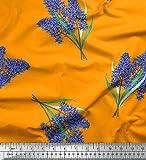 Soimoi Orange Baumwolle Batist Stoff Lavendel Blume Drucken