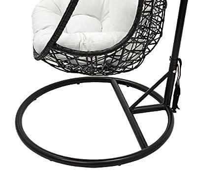 Hängekorb INCA 195cm, Metall + Geflecht schwarz im Designer Look, Polster weiss von gartenmoebel-einkauf auf Gartenmöbel von Du und Dein Garten