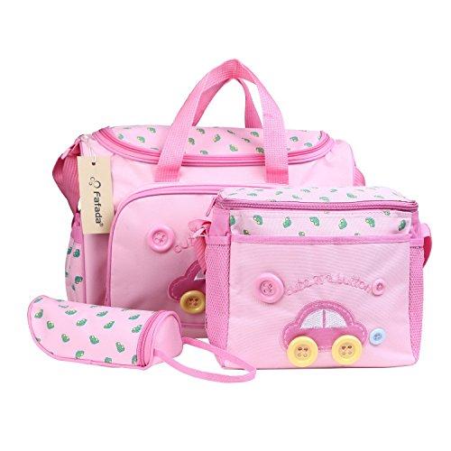 Fafada Borsa Fasciatoio - Set di 4pz Borsa per Bambino Mamma Diaper Bag Sacchetto Pannolino per Bambini Tote Bag Organizzatore con Cinghia per Bottiglia Bagagli Bambino Fasciatoio Rosa