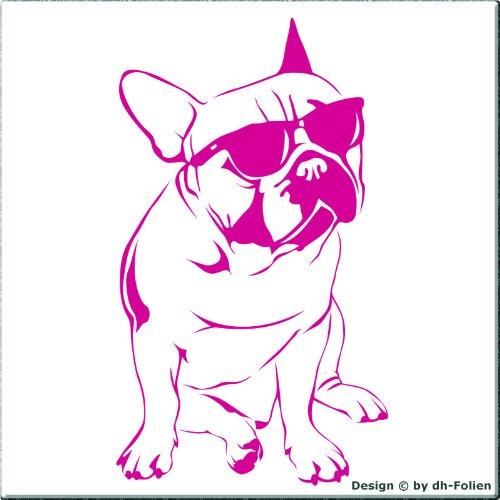 cartattoo4you AK-00391 | FRANZÖSISCHE BULLDOGGE mit BRILLE | Autoaufkleber Aufkleber , FARBE pink / magenta , in 23 weiteren Farben erhältlich, glänzend , 18 x 31 cm , Waschstrassenfest , Versandkostenfrei