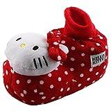 Tierhausschuhe Hello Kitty Katze Tier Hausschuhe Pantoffel Schlappen Slipper Kuscheltier Plüsch Mädchen, TH-Hellokitty, Modell Dot rot, Größe 24/26