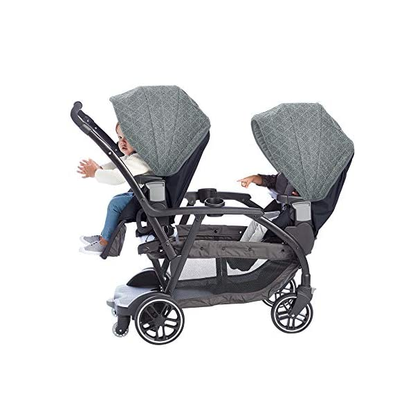 Graco Modes Duo Tandem Pushchair, Shift Graco 27 riding options for 2 children from infant to toddler; click connect attaches with all graco snug ride/essentials infant car seats. suitable from birth to 13kg (approx. 3 years) Two removable, multi-position reclining seats can be positioned rear or forward facing; the built-in bench seat gives your big kid a place to rest; both front and rear seats hold up to 15kgs One-hand standing fold, folds with seats on or off; locking front swivel wheels for superior manoeuvrability; one-step brakes make stopping, and going again, quick and easy 2