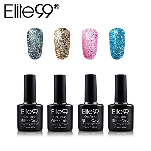 Vernis Semi Permanent Elite Lot de 4pcs Vernis à Ongles Gel pour ongles UV LED Glitter Kit de Manucure Semi Permanent Soakoff Nail Art - 007