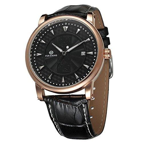 Gute hommes montre-bracelet mécanique automatique avec affichage analogique et bracelet en cuir noir cadran noir
