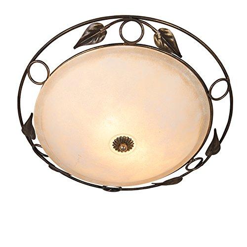 QAZQA Landhaus / Vintage / Rustikal Deckenleuchte / Deckenlampe / Lampe / Leuchte Senna antik Gold / Messing/ 2-flammig / Innenbeleuchtung / Wohnzimmer / Schlafzimmer / Küche Glas / Metall / Rund LED (Antike Messing Leuchten)