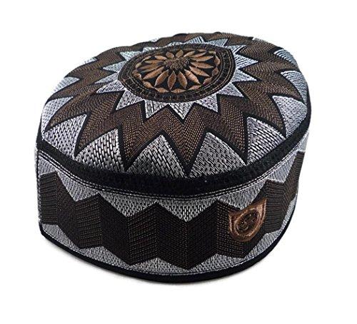 Alwee ALW006 Muslimische Gebetskopfhaube für Herren mit Islam und Totenkopf - Braun - 61 cm (Muslim-skull-cap)
