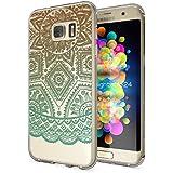 Samsung Galaxy S7 Edge Coque Protection de NICA, Housse Motif Silicone Portable Premium Case Cover Transparente, Ultra-Fine Souple Gel Slim Bumper Etui pour S7-Edge, Designs:Mandala Turquoise Vert