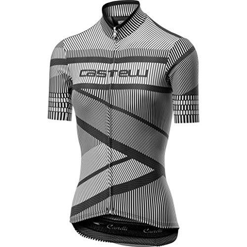 Castelli Women's Millerighe Full Zip Bike Jersey White/Black - Castelli Damen-bike-trikot