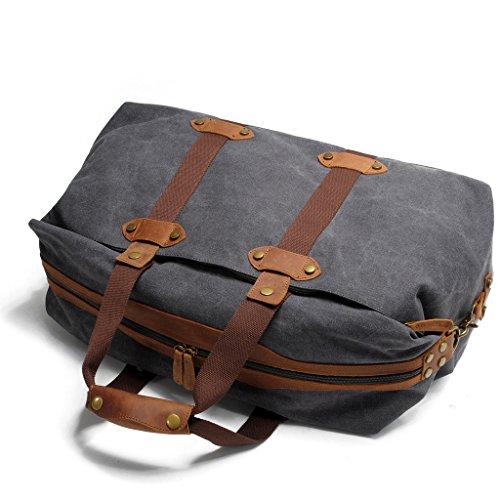 FAIRY COUPLE Unisex Canvas Leder Handtasche Gepäck Tasche für Reise Laptop Camping Messenger Tasche Schultertasche C3014,kaffee dunkel grau