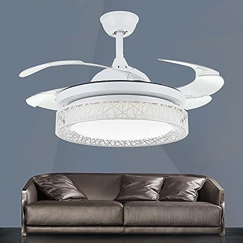 CLG-FLY stealth LED luce ventilatore moderno minimalista soggiorno sala da pranzo Camera da letto marca Bird's Nest lampadario ventilatore,Bianco + telecomando,42 pollici