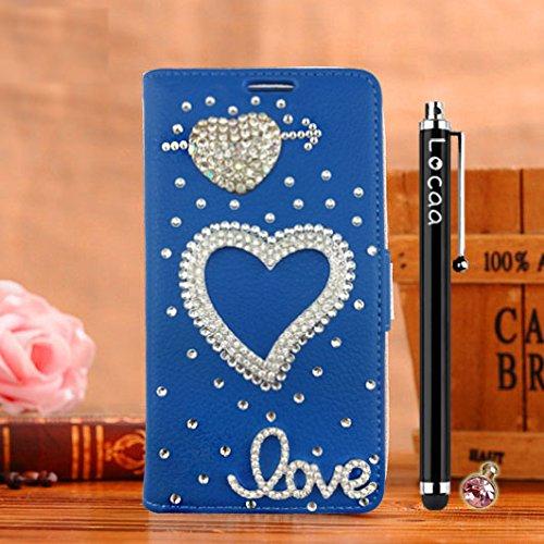 Locaa(TM) Pour Apple IPhone 7 IPhone7 (4.7 inch) 3D Bling Case Coque Cadeaux Fait Cuir Qualité Housse Chocs Étui Couverture Protection Cover Shell Romantique [Couleur 1] Bleu - Love Bleu - Flèche l'Amour