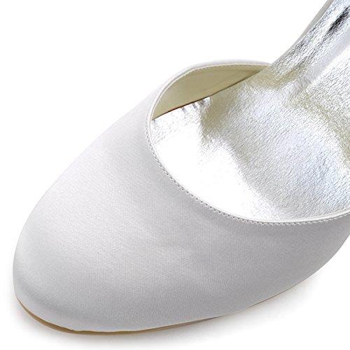 Elegantpark AJ3065 Satin Aiguille Bout Ferme Perle Chaine Fermeture Eclair Talon Pumps Femme Chaussures de Mariage Ivoire
