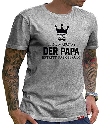 HARIZ  Herren T-Shirt Papa Collection 36 Designs Wählbar Grau Urkunde Papa18 Seine Majestät Der Papa L