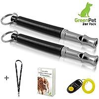 2x Hundepfeife +BONUS: Hunde-clicker, Schlüsselband und E-Book - Kontrolle erlangen und Bellen stoppen - Schwarz/Silber mit einstellbarer Frequenz