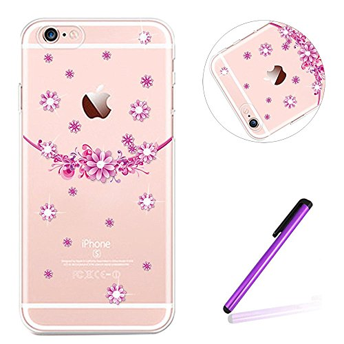 iPhone 7 Coque Silicone,iPhone 7 Coque Transparente,iPhone 7 Coque Crystal Bling Bling,iPhone 7 Coque Ultra-Mince Etui Housse avec Bling Diamant,iPhone 7 Silicone Case Slim Soft Gel Cover,EMAXELERS iP TPU 67