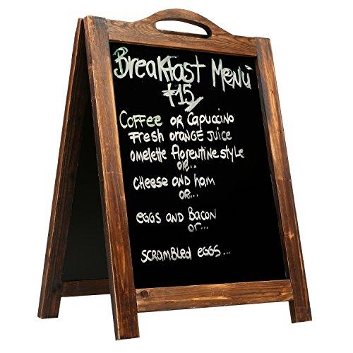 MyGift groß Rustikaler Stil A-Frame Tafel Schild, beidseitigen Kanten Sandwich Board, dunkelbraun - Outdoor-menü-board