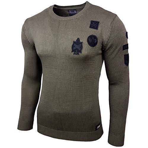 Rusty Neal Herren Strickpullover Pullover Sweatshirt Styler Shirt RN-297  Khaki
