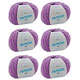 Merino Wolle zum Stricken * Merinowolle flieder (Fb 8997) * 6 Knäuel lila Merino Wolle zum Häkeln - Merino Garn + GRATIS MyOma Label - 50g/120m - MyOma Wolle - weiche Wolle - Merinogarn