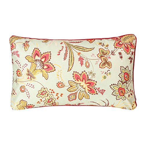 Mika Home peluche morbido motivo floreale in velluto federa cuscino di 50,8x 50,8cm, rosso, verde, Tessuto, Green/Red, 12X20
