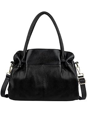 Ausverkauf-Yaluxe Damen Multi-Fächer Leder Organizer Handtasche Schultertasche