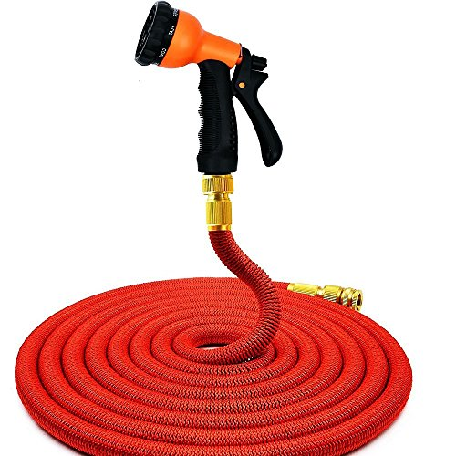 JIM'S STORE ® Extensible flexible Pas Kink expansion Tuyau d'arrosage. 50FT / 75ft / 100FT extensible tuyau d'arrosage avec douchette buse (50ft)