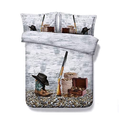 Cowboy-Hut und Cowgirl Lederstiefel Bettbezug-Set 3-teiliges Bettwäscheset mit 2 Kissen Shams Western Tagesdecke Kids Teens Erwachsene Bettdecke (Farbe : Gun Bedding, größe : Single/Twin)