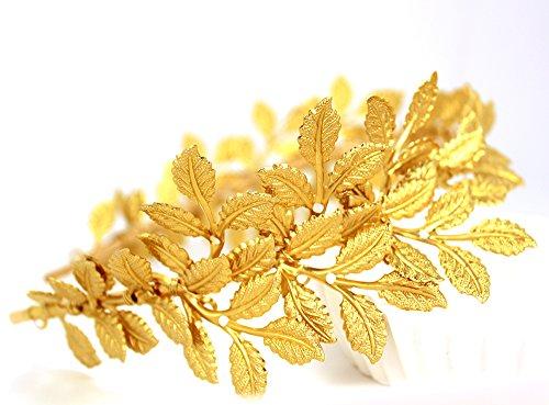 OUMOU diadema dorada de hojas de olivo, Accesorio de Boda o para desfile (Greek)