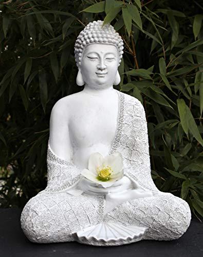 Tiefes Kunsthandwerk Steinfigur Buddha sitzend – Antik-Weiss, Garten Deko Figur Stein Statue Frostsicher