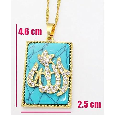 Protezione turchese Allah Musulmano Ciondolo sacro Corano verses Sura arabo 18K Real placcato oro in diamanti