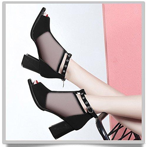 HWF Scarpe donna Fish Mouth Sandals Donna Summer Mid Heel Maglie a tacco alto Scarpe da donna ( Colore : Nero , dimensioni : 39 ) Nero