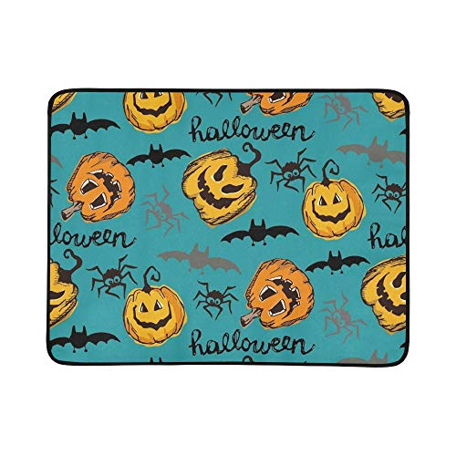 EIJODNL Halloween Endless Texture Can Portable and Foldable Blanket Mat 60x78 Inch Handy Mat for Camping Picnic Beach Indoor Outdoor Travel (Clip Cat Art Black Halloween)