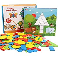 Abester Wooden Pattern Puzzle Blocks, 250 Pcs Colorful Geometry Shapes Jigsaw Tangram Blocks Match Games with Number 0-9 & 10 Shape Cards,
