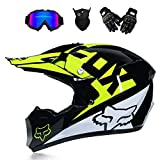 Douerye Casque de vélo de Moto Adulte Hors Route Motocross Moto VTT VTT VTT Casque intégral Casque MX Dot Complet/Masques/Masque/Gants (Jeunesse S-XXL, Style 6),whiteFOX,L