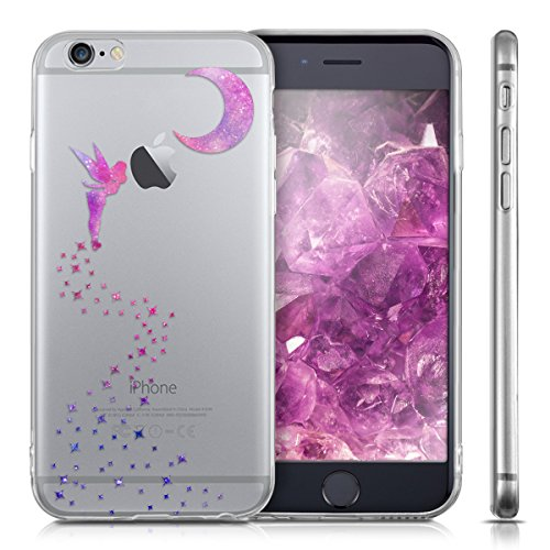 kwmobile Housse miroir pour Apple iPhone 6 / 6S Étui TPU en silicone cover portable, housse de protection en couleur argent miroitant fée IMD rose foncé violet transparent