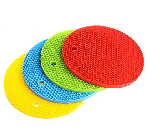 HelpCuisine® Dessous de Plat//Casserole. sous- Plat en Silicone Alimentaire sans BPA, Antichaleur, Souple, Pliable, Multiusage. Lot de 4 Dessous-de-Plat Multicolore (Rouge, Jaune, Vert, Bleu)
