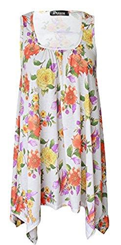 Friendz Trendz -Ladies Scoop Neck Tunika Blumen gedruckt ärmellosen Hanky Hem Top Yellow Flower