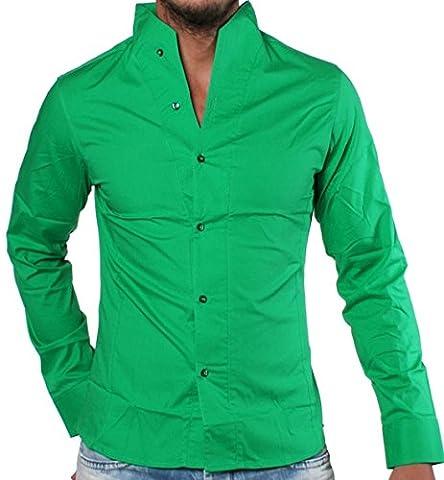 Rerock Herren Stehkragen Hemd Slimfit Uni tailliert langarm einfarbig Party Club Freizeit , Grösse:L;Farbe:Grün
