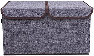 Uberlyfe Double Flap Foldable Storage Box for Toy Storage Home Closet Color - Grey (KSB-001744-GRY_A)