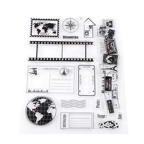 Akozon Clear Stempel Scrapbook Fotokarten Postkarten 14x18cm Gummidichtung Silikon Briefmarken -