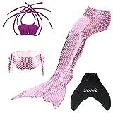 SAIANKE - Ensemble de maillot de bain avec queue de sirène et monopalme - Pailleté -  Rose - Small