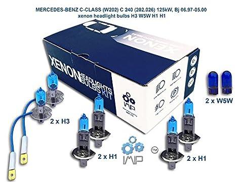 MERCEDES-BENZ C-CLASS W202 C 240 202.026 125kW, Bj 06.97-05.00 xenon headlight bulbs H3 W5W H1 H1