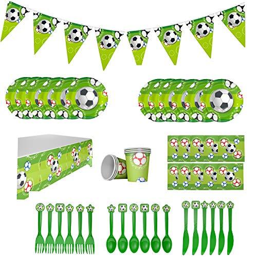 Topways Soccer Party Supplies, Paquete de vajilla para 12 Invitados, Incluye pancartas de fútbol,   Platos Desechables, Tazas, Cuchillos de plástico, Tenedor, Cuchara, servilletas, Mantel