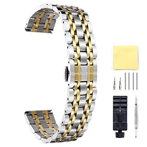 BINLUN Cinturino per Orologio in Acciaio Inossidabile, Oro-argento 25mm