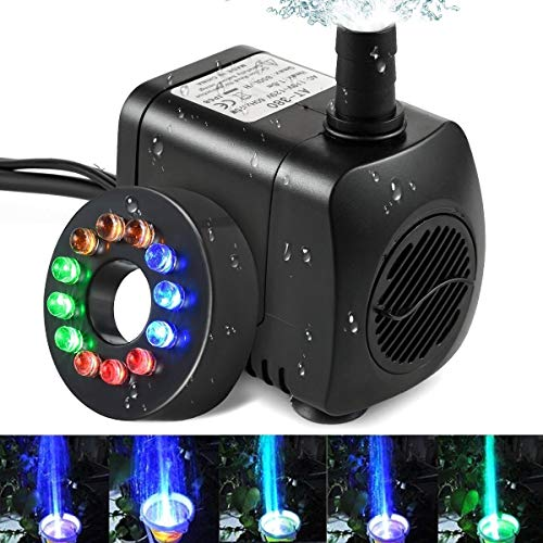 ICDOT Pompe Submersible Eau - 140 GPH LED Submersible Pompe à Eau Fontaine for Aquarium, Aquarium, Fontaine, Étang, 12 Pompe LED colorées lumières buse (Size : 10W+12Light)