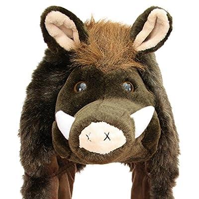 Geschenke mit Namen Wildschwein Kuschelig Weich Plüschmütze, Braun, One Size von Geschenke mit Namen Versand - Outdoor Shop