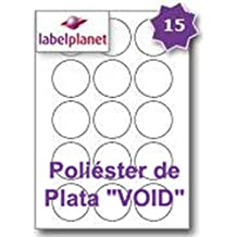 "15 Par Hoja, 5 Hojas, 75 Etiquetas. Label Planet® Etiquetas Redondas de Poliéster ""VOID"" de Plata en Hojas A4 para Impresión Láser 51mm Diámetro, LP15/51 R SVP."