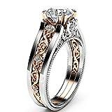 Autiga® Damen-Ring mit Zirkonia Stein Rose Ranken Floral Vintage, Verlobungsring, Solitär-Ring, Bandring Silber 57 - Ø 18,05 mm