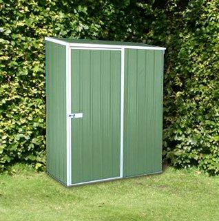 5x3 green emerald metal shed no windows single door pent for Garden room 5x3